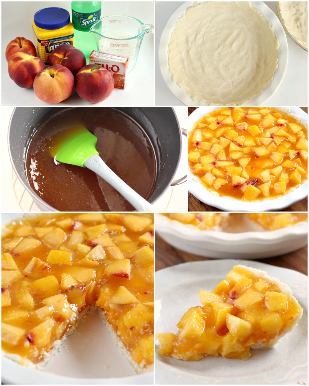 Step by step photos and instructions on how to make Easy Peach Pie. Lots of fresh peaches and a few other simple ingredients, including Sprite!