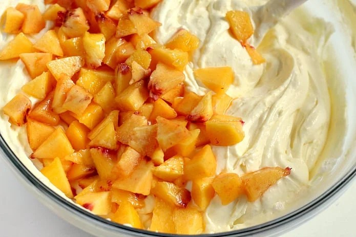 This easy Peaches and Cream Salad only has 4 ingredients and comes together in less than 5 minutes.