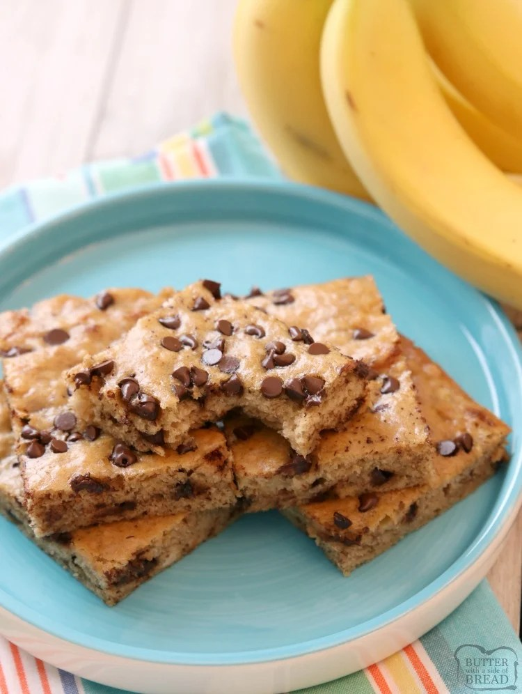 Chocolate Chip Banana Bars are a simple & delicious ripe banana recipe that's even better than banana bread! Great for breakfast, lunch and even dessert! Check out all the 5 star reviews- everyone raves about these Chocolate Chip Banana Bars! Easy banana dessert recipe.