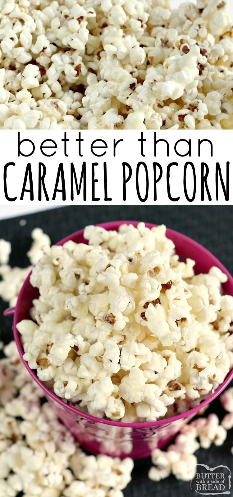 Better Than Caramel Popcorn is gooey, deliciously sweet and so easy to make with just a few simple ingredients! The coating in this caramel popcorn recipe is made with butter, sugar and whipping cream - that's it!
