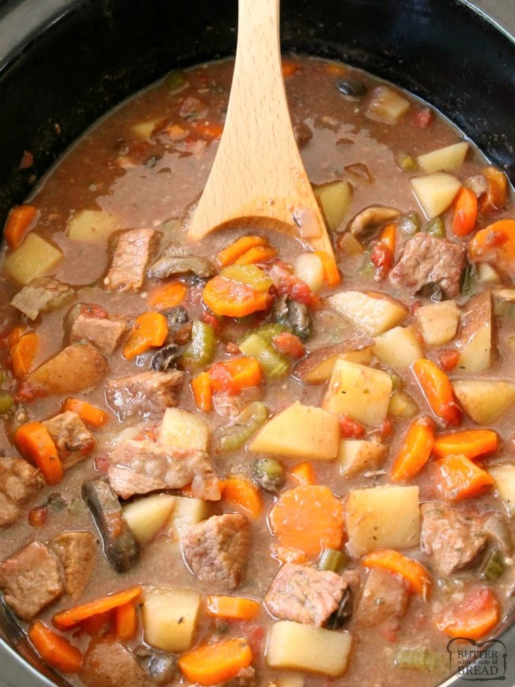 Beef Stew Crock Pot recipe made with tender chunks of beef, loads of vegetables and a simple mixture of broth and spices that yields the BEST, easiest beef stew ever!