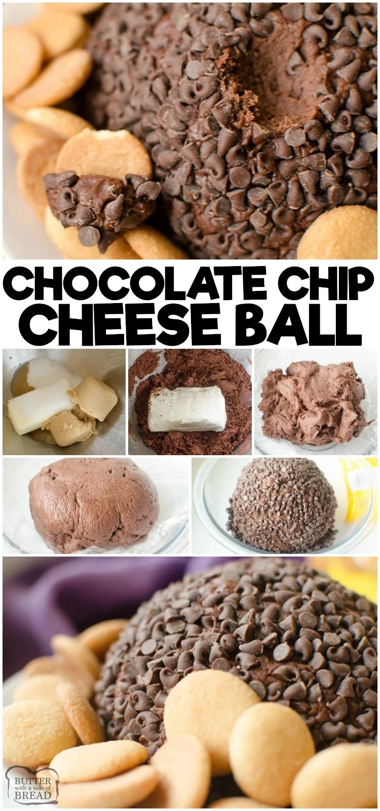 Double Chocolate Chip Cheese Ball is a rich, twice the chocolate cheesecake turned into a sweet cheese ball! The rich chocolate batter combined with the tangy cream cheese then rolled in mini chocolate chips makes this a rich and delicious appetizer or dessert! #cheese #chocolate #chocolatechip #cheeseball #dessert #appetizer #recipe from BUTTER WITH A SIDE OF BREAD