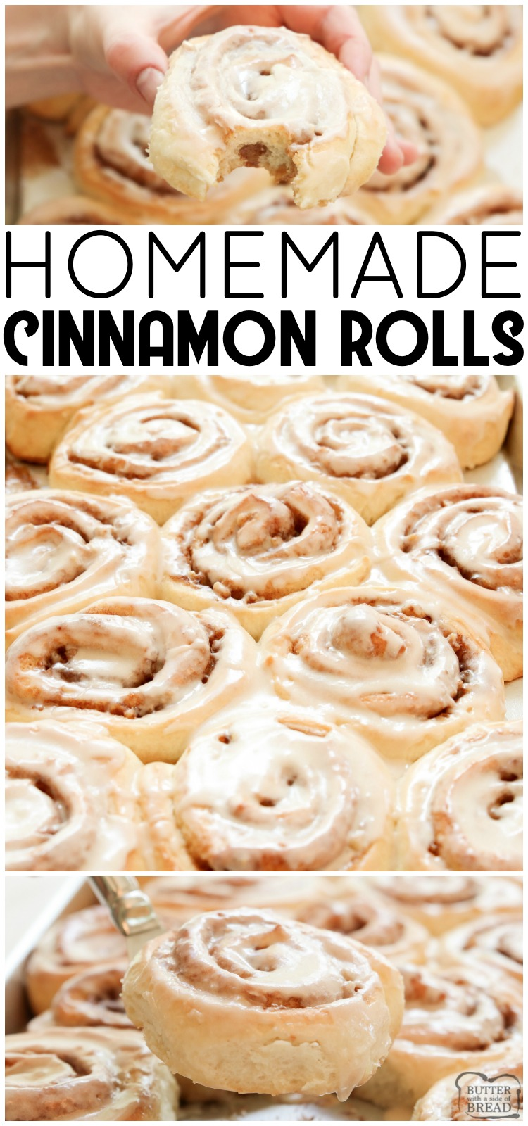 Cinnamon Rolls made from scratch that yield feather-light sweet rolls with pecans, cinnamon and a lovely vanilla glaze. Best cinnamon roll recipe ever! #cinnamonrolls @homemade #rolls #bread #breakfast #sweetrolls #cinnamon #recipe from BUTTER WITH A SIDE OF BREAD