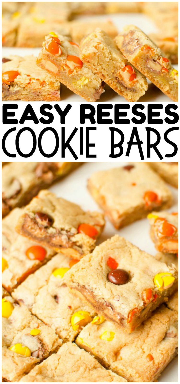 Reese's Cookie Bars are a thick, chewy & full of Reese's Pieces and Mini Reese's Cups! The rich, chewy cookie bar compliments the chocolate & peanut butter add in's perfectly. No rolling required, Cookie Bars are the way to go! #cookies #baking #reeses #chocolate #peanutbutter #cookies #recipe #dessert