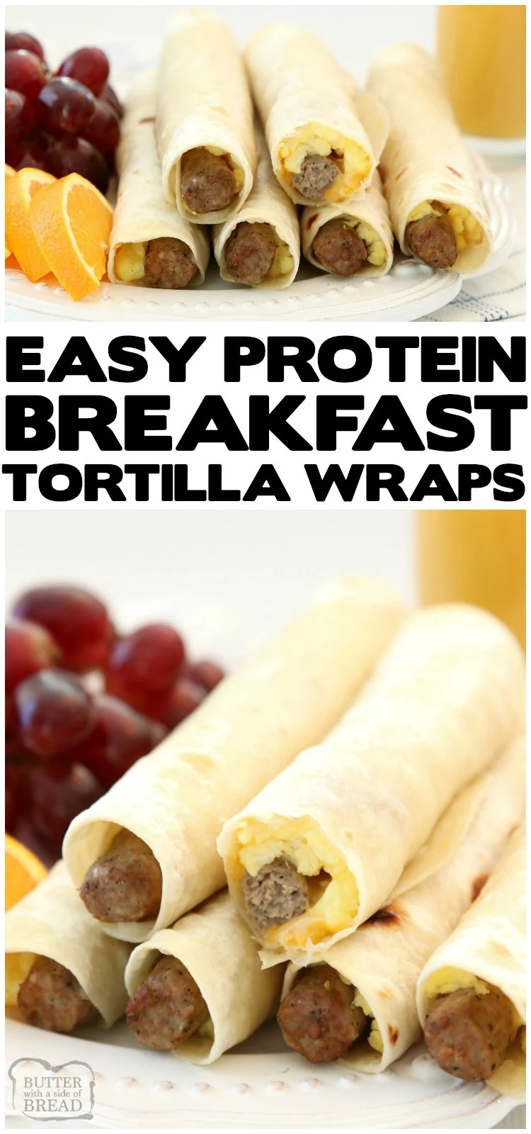 High Protein Breakfast Wraps made with turkey sausage, eggs and cheese wrapped in a fresh tortilla. Easy on the go breakfast idea that's delicious and & satisfying for everyone!