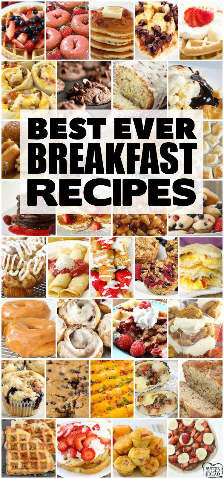Best Breakfast ideas for anyone who loves breakfast food! Wide variety of breakfast ideas - sweet, savory, breakfast for a crowd or breakfast for two!