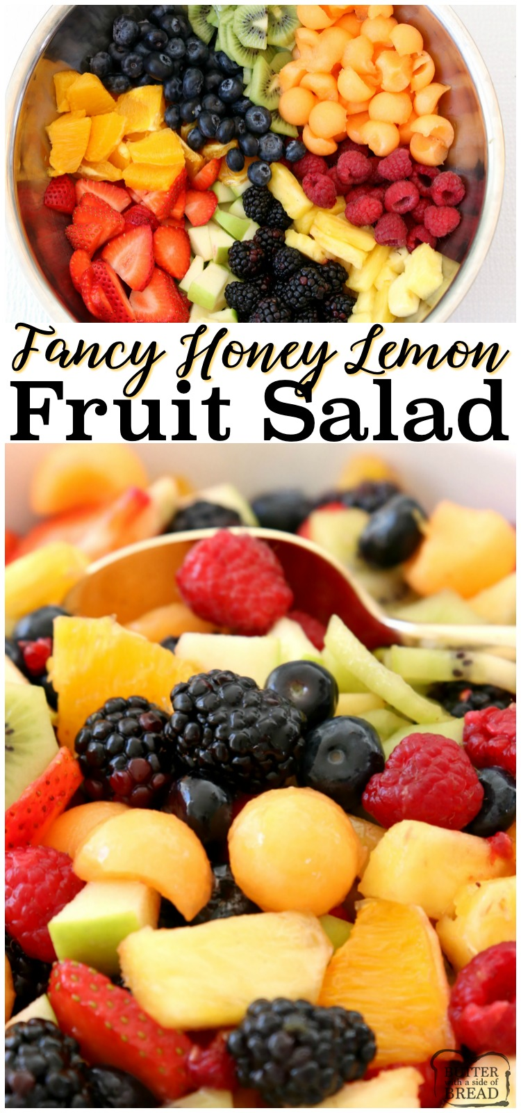 Fancy Fruit Salad is a lovely fruit salad recipe perfect for parties and get-togethers. The sweet, honey lemon glaze enhances flavors & keeps the fruit colors bright and vibrant. #fruit #salad #lemon #honey #fancy #fruity #party #recipe from BUTTER WITH A SIDE OF BREAD