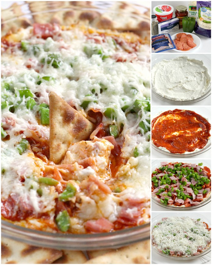 Pepperoni Pizza Dip recipe that is easily made with cream cheese, pizza sauce, pepperoni, cheese and all of your other favorite pizza toppings! This delicious appetizer recipe is fast, easy and is always a hit at parties, game day gatherings and family dinners too.