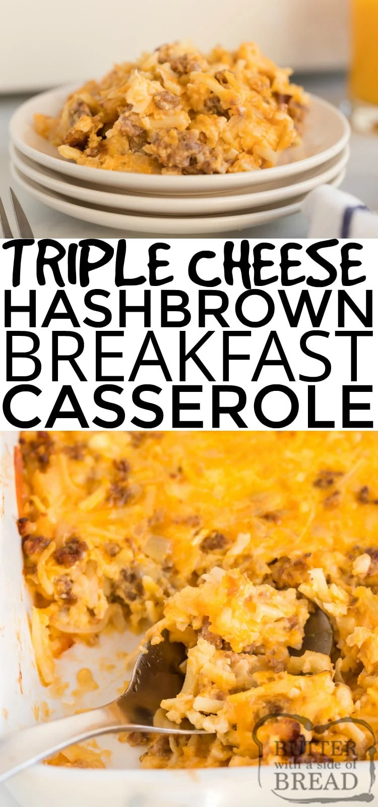 Cheesy Hashbrown Breakfast Casserole is fantastic whether served for breakfast or dinner. It combines cheddar, Swiss and cottage cheese along with hash browns and bacon, sausage or ham! Our favorite breakfast casserole recipe ever!