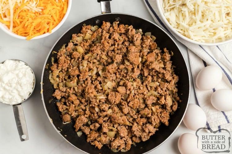 Ingredients in easy breakfast casserole