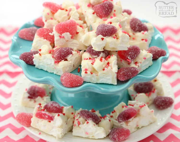Valentine's Marshmallow Chocolate Bark is a simple, festive dessert that everyone loves! Made in minutes with just 3 ingredients, these chocolate squares are perfect for Valentine's Day!
