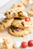 Caramel Pretzel Chocolate Chip Cookies are the ultimate salty sweet combo! Crushed pretzels, Caramel M&M's and semi-sweet chocolate chips all nestled together in buttery cookie dough. Perfect variation on a classic chocolate chip cookie recipe!