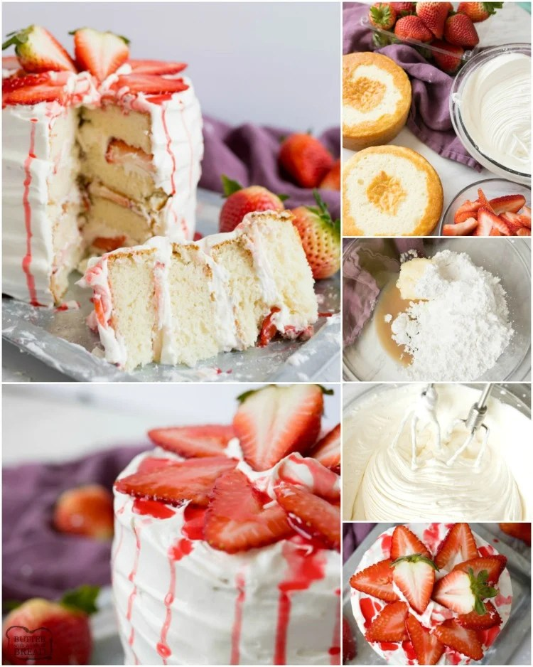 Strawberry Shortcake Cake is a gorgeous vanilla cake filled with whipped vanilla frosting and fresh strawberries. Strawberry Cake made easy with a box cake mix & a spectacular whipped frosting!