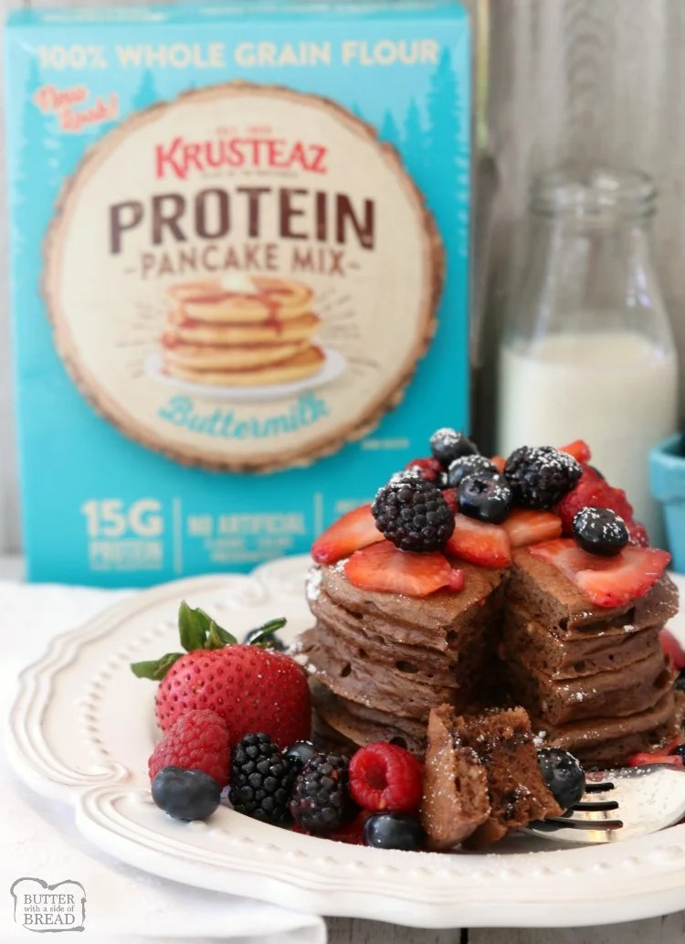 Chocolate Chip Protein Pancakes with a Krusteaz mix