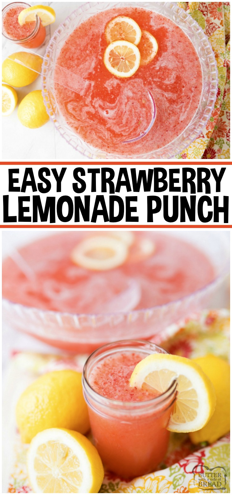 Strawberry Lemonade Punch is a simple & delicious 3 ingredient party drink! This Strawberry Lemonade recipe is refreshing and a breeze to whip together. Lemon-Lime Soda, powdered lemonade mix and frozen strawberries is all you need to make this sparkling party punch. #punch #lemonade #strawberry #party #beverage #mocktail #recipe from BUTTER WITH A SIDE OF BREAD