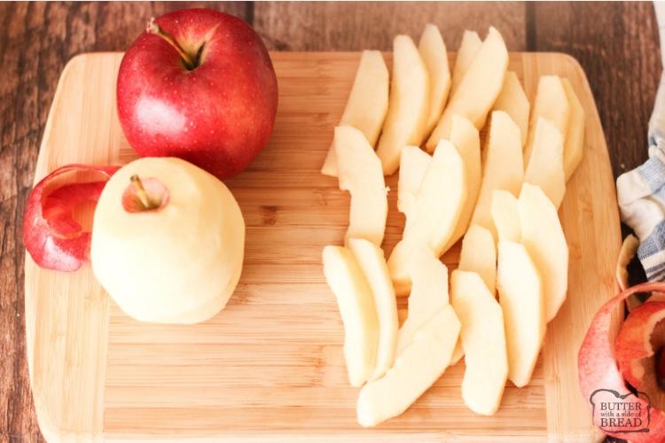 Peeled and sliced gala apples