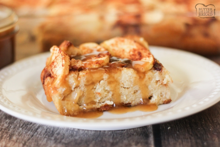 Slice of apple bread pudding