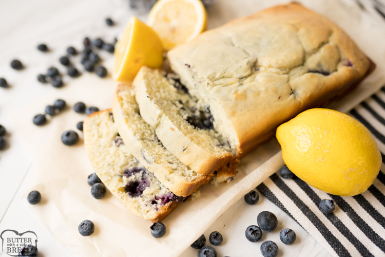 lemon blueberry bread, baked and served.