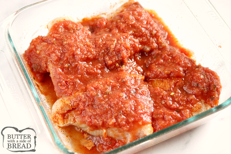 Salsa on top of chicken breasts