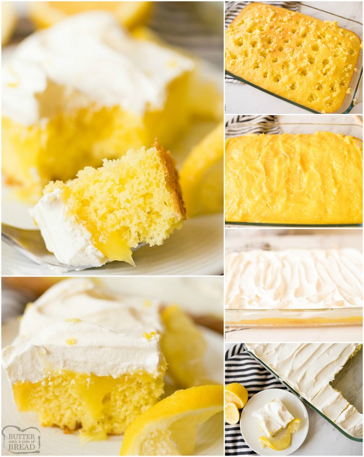 Lemon Poke Cake made with 3 ingredients and so simple! Delicious, easy poke cake recipe with a sweet lemon flavor topped with whipped cream.