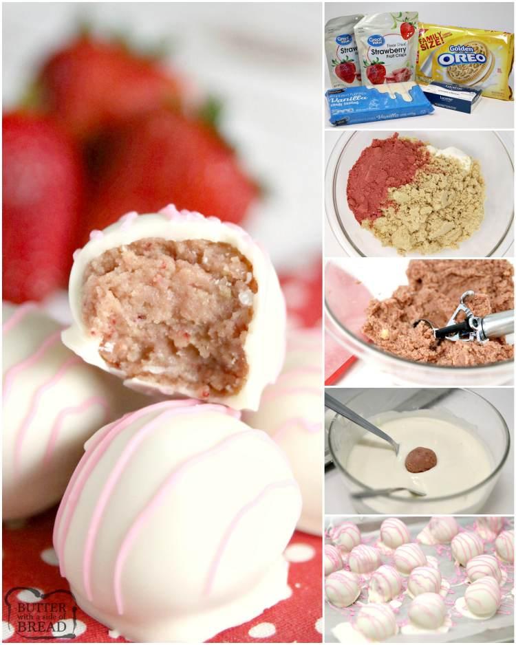 Step by step instructions on making strawberry shortcake oreo balls
