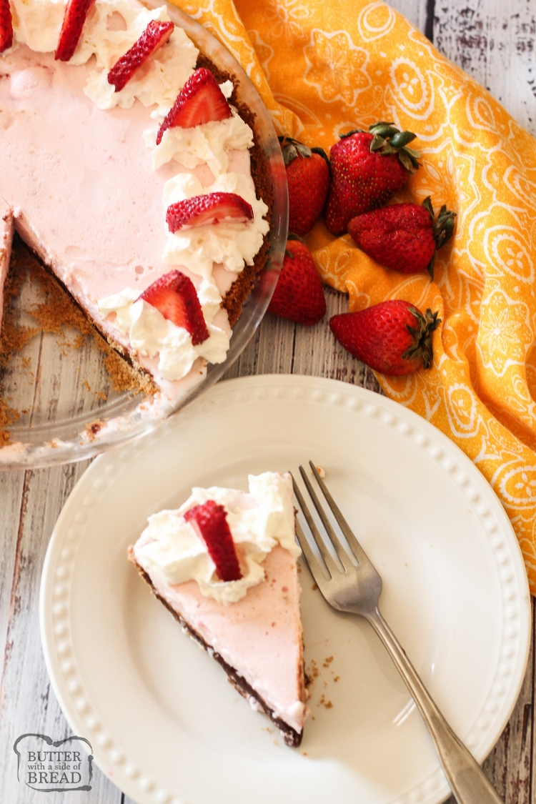slice of strawberry ice cream pie on a white plate