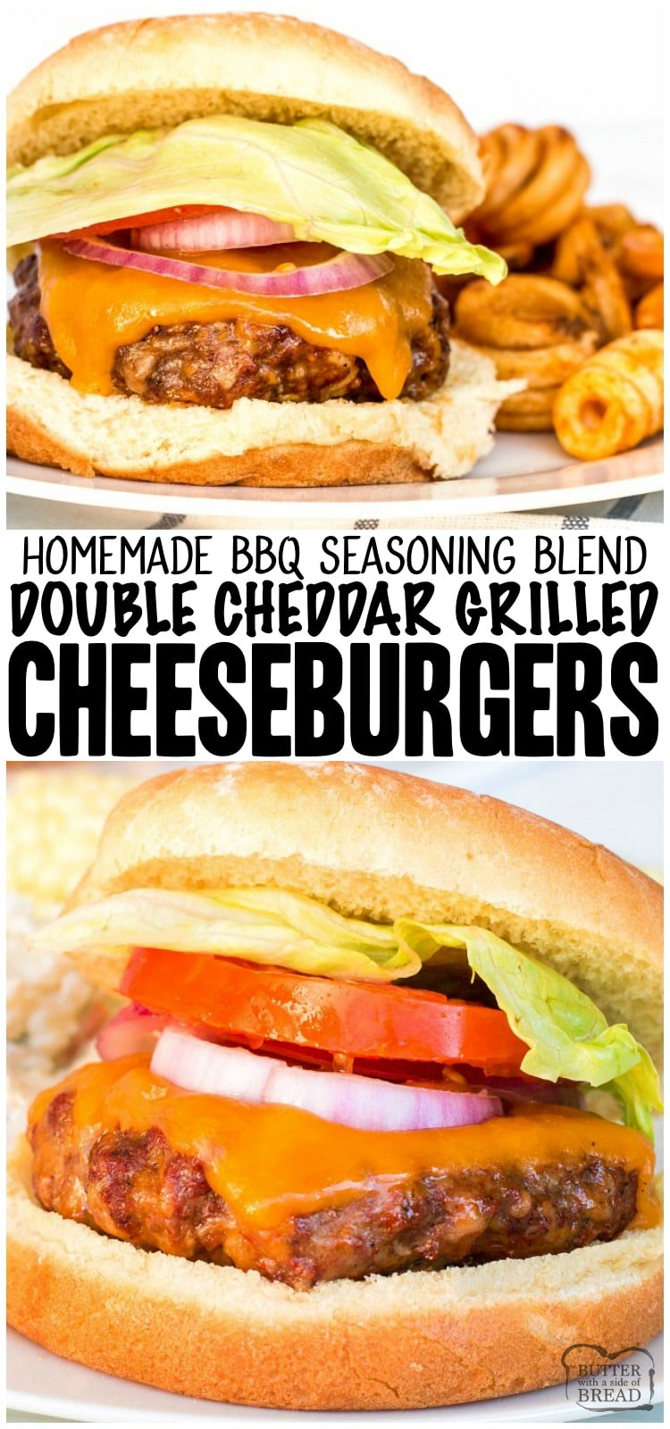 Easy Cheeseburgers are a delicious, lip smacking summertime BBQ staple at my house. With only four ingredients, this cheeseburger recipe is quick, easy and flavorful. #beef #cheese #burgers #cheeseburgers #grilling #bbq #recipe from BUTTER WITH A SIDE OF BREAD