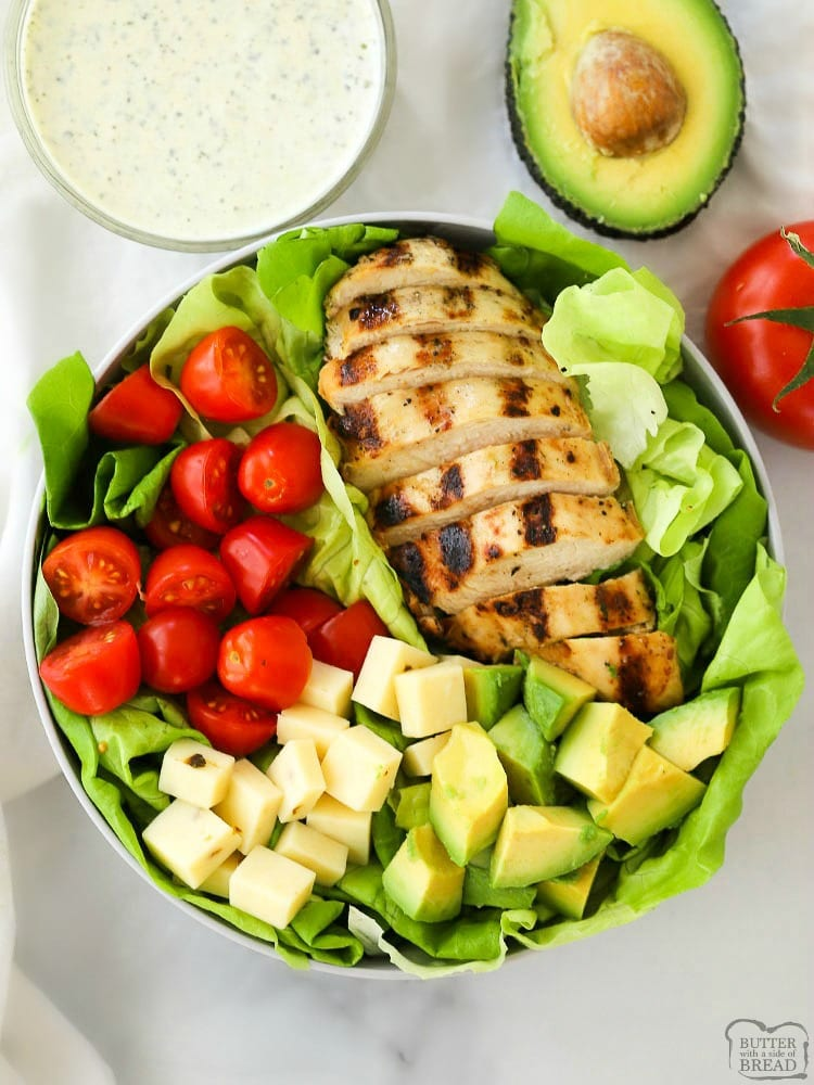 Grilled Chicken Salad With Pesto Ranch Dressing Butter With A Side Of Bread