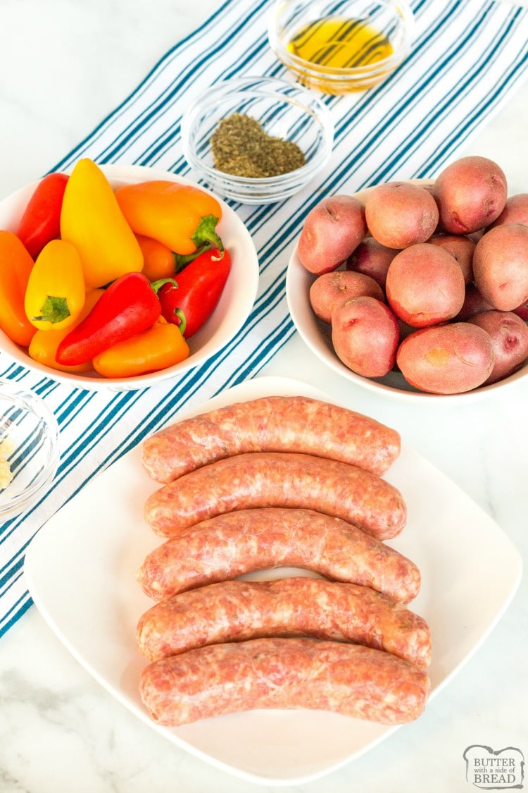 Ingredients for Sausage and Peppers recipe