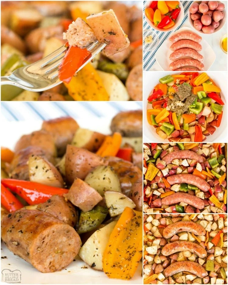 Sausage and Peppers recipe is a delicious, hearty, easy to make sheet pan dinner. With just a few ingredients Baked Italian Sausage & Peppers is quick and simple. #sausage #peppers #potatoes #easydinner #veggies #recipefrom Butter With a Side of Bread