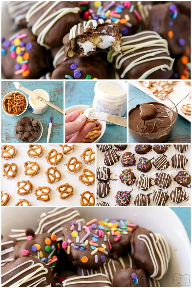 how to make marshmallow chocolate covered pretzels