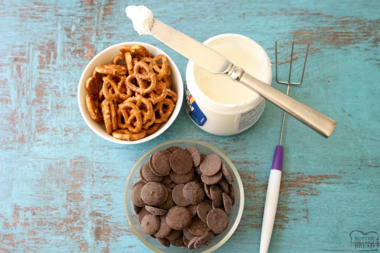 ingredients needed for marshmallow chocolate covered pretzels