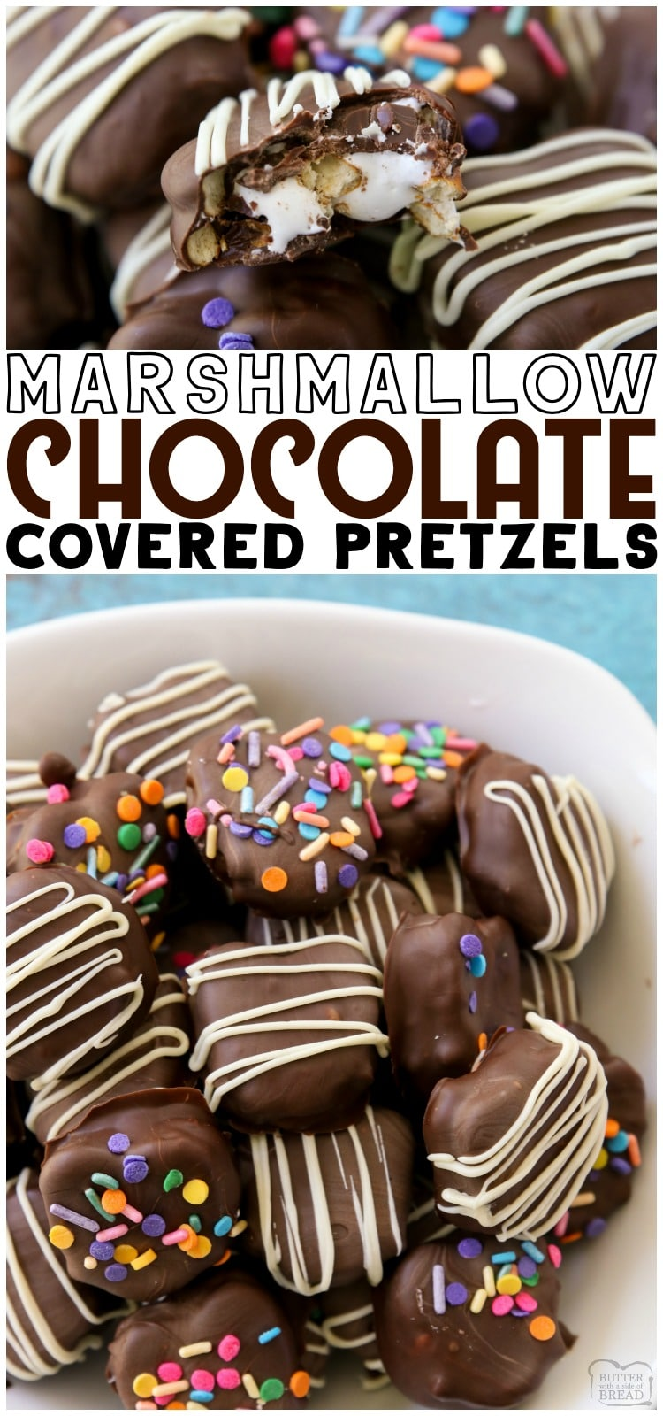 Chocolate Covered Pretzel recipe with marshmallow fluff filling are a delightful cross between s'mores and traditional chocolate pretzels. These chocolate dipped pretzels are easy to make and so delicious! #chocolate #pretzels #marshmallow #nobake #dessert from BUTTER WITH A SIDE OF BREAD