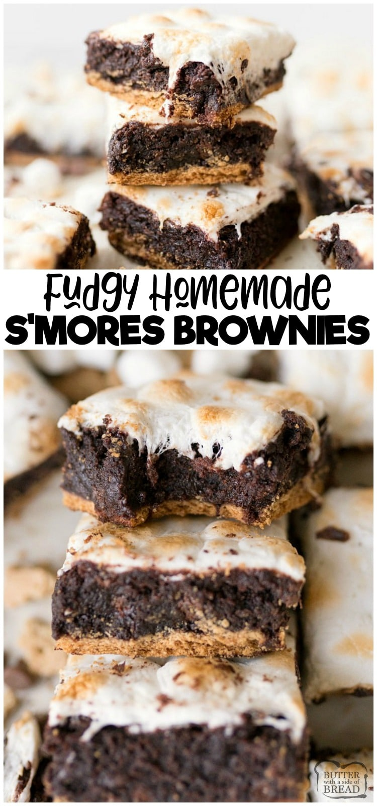 S'mores Brownies are a fun twist on the classic brownie recipe. Graham Crackers topped with fudgey homemade brownies and toasted marshmallows! Two favorites combine in this delicious brownie recipe!