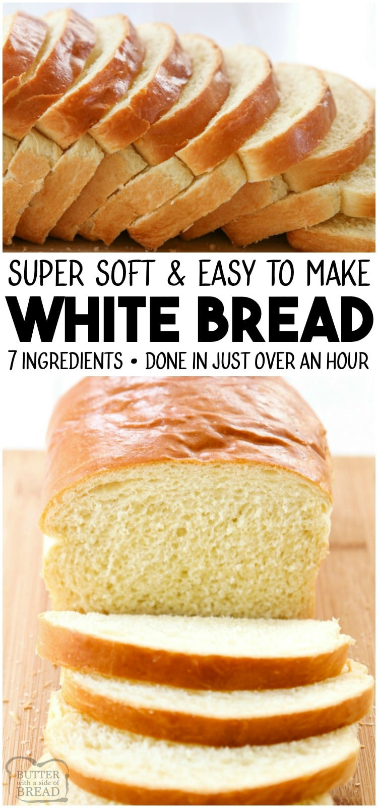 White Bread recipe made with basic ingredients & detailed instructions showing how to make bread! Done in just over an hour this recipeis one of the best soft white sandwich bread recipes.#bread #sandwich #whitebread #homemade #yeast #baking #recipe from BUTTER WITH A SIDE OF BREAD