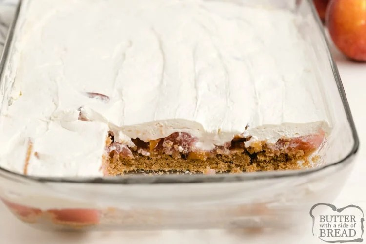 No Bake Peach Dessert with three layers