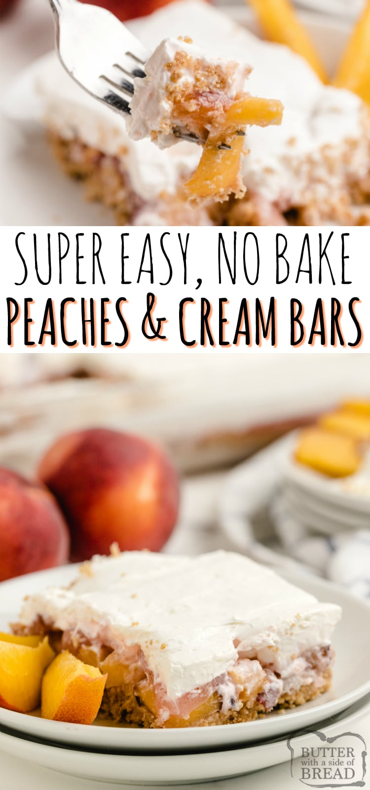 No-Bake Peaches & Cream Bars are one of my favorite fresh peach dessert recipes! Made with peach jello, cream cheese, graham crackers and of course, fresh & juicy peaches!