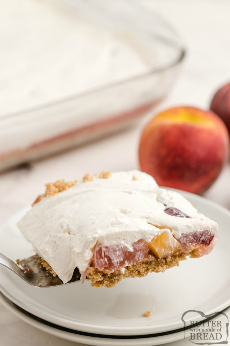 Slice of no bake peach dessert