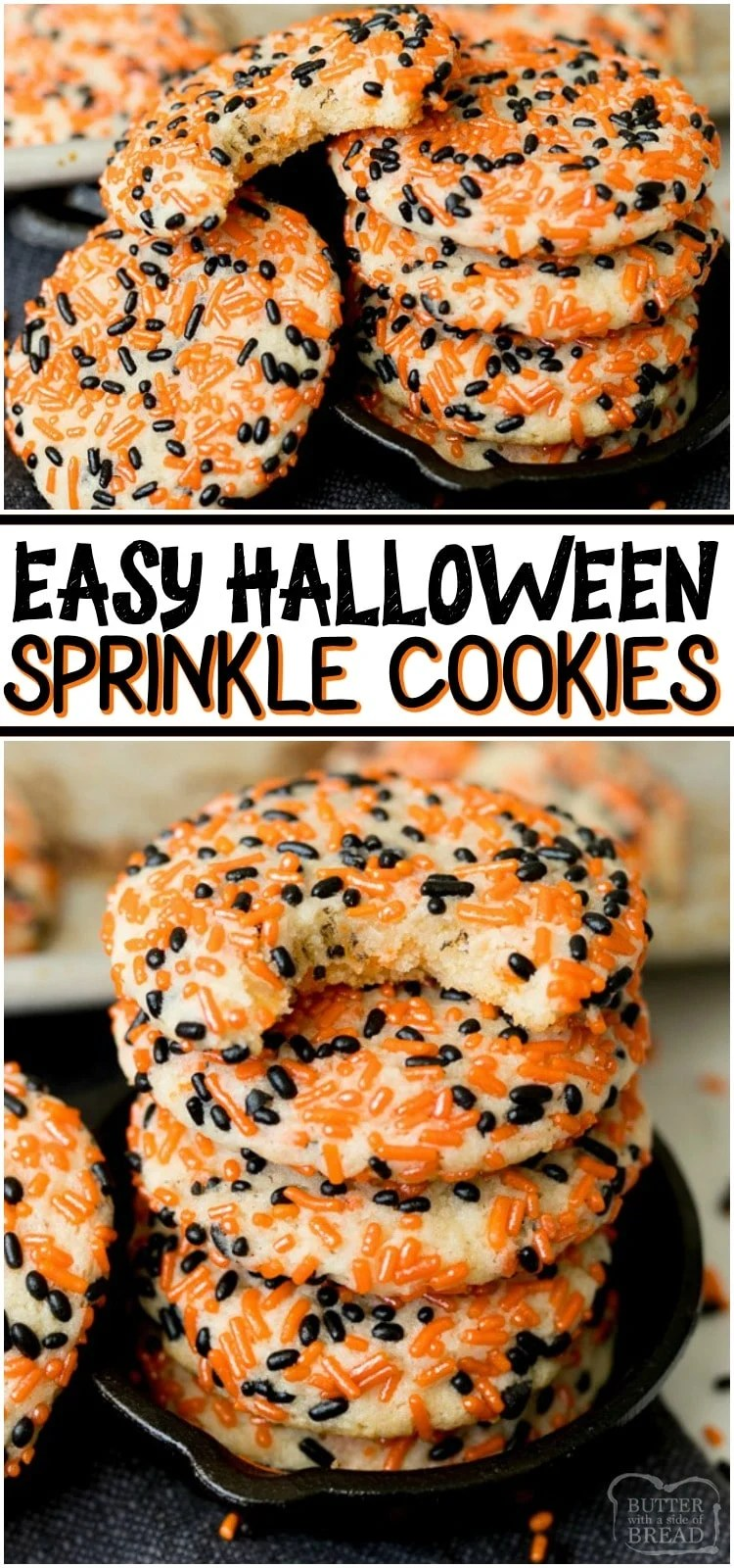 Halloween Sprinkle Cookies are a festive & sweet way to celebrate Halloween! Soft, easy Halloween cookie recipe covered in orange and black sprinkles then baked to cookie perfection.