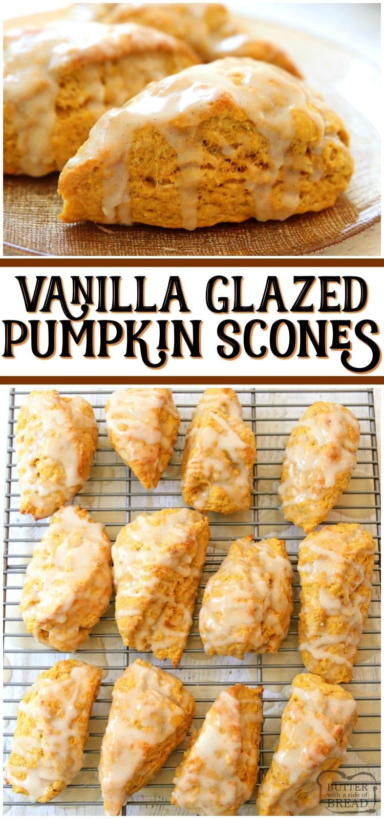 Easy Pumpkin Scones recipe made with pumpkin, cinnamon, brown sugar and butter. Soft & sweet pumpkin scones that are perfect for Fall. #scones #pumpkin #recipe #baking #breakfast #scone #recipe from BUTTER WITH A SIDE OF BREAD