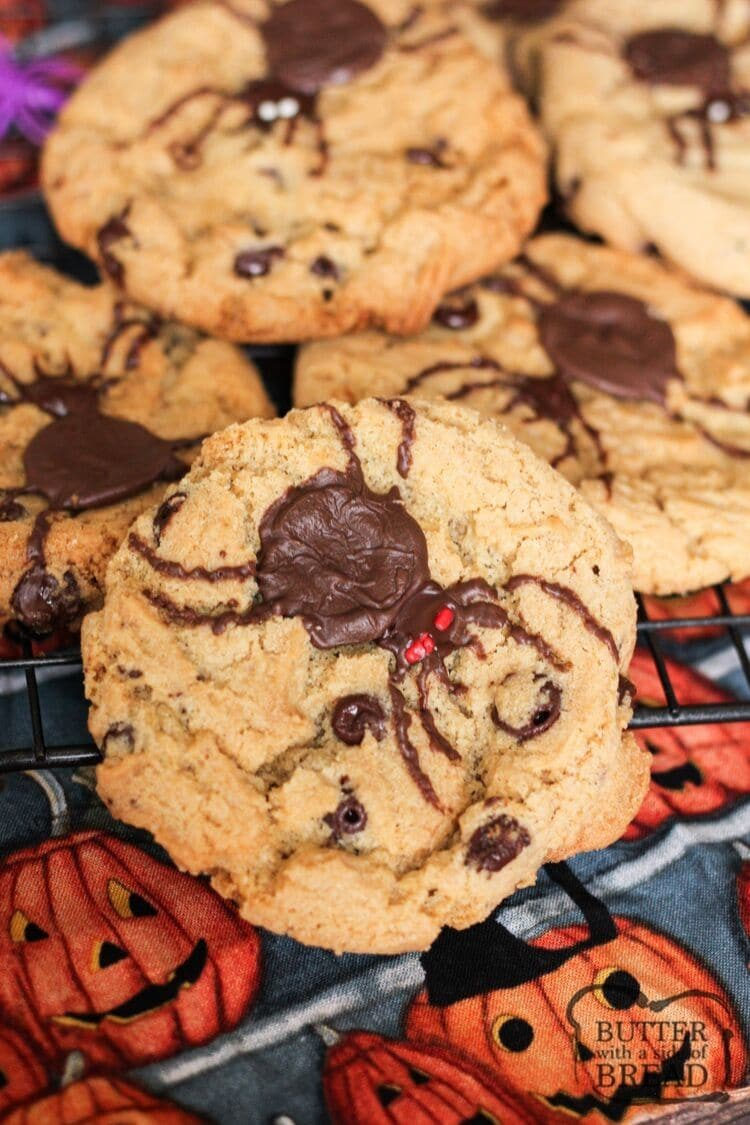 Halloween Spider Cookies are so much fun to make! A classic cookie recipe takes a creepy turn with a giant chocolate spider on top!