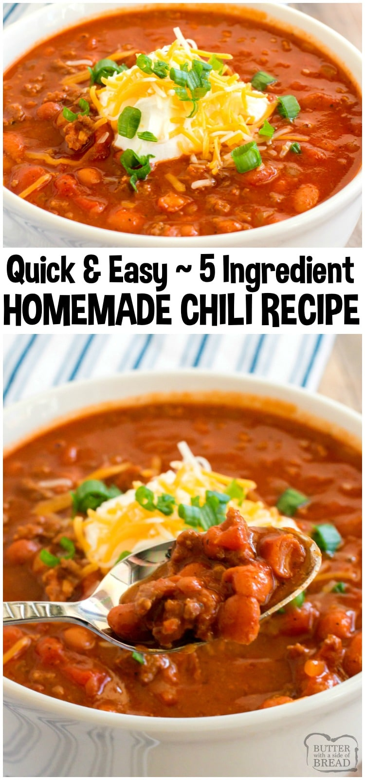 Easy Chili Recipe made in under an hour with just 5 ingredients! Simple & flavorful ground beef chili recipethat's perfect for family dinner.