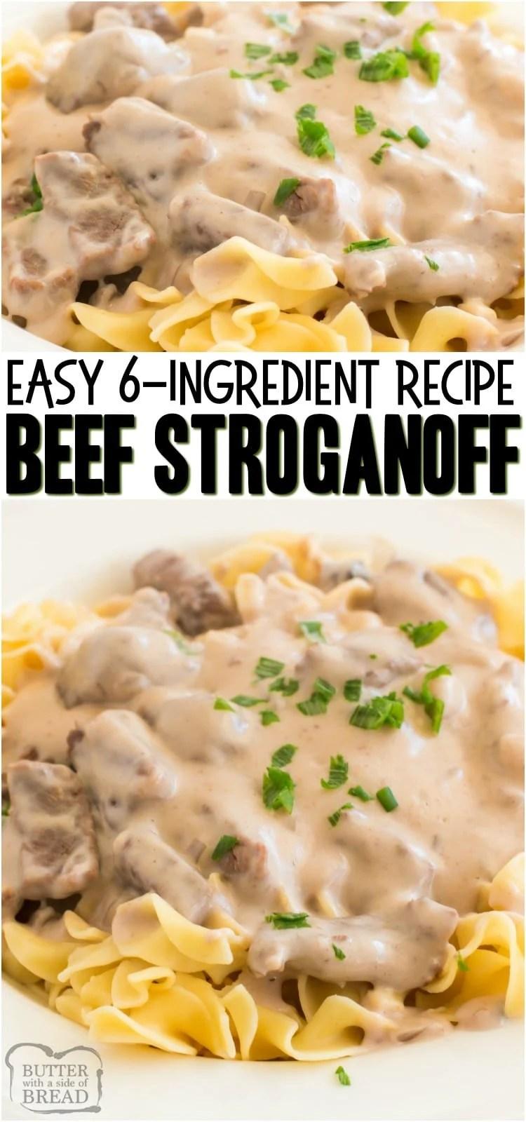 Easy Beef Stroganoff Recipe es una receta clásica, cremosa y deliciosa para la cena familiar. Con solo unos pocos ingredientes simples, usted también puede hacer que esta deliciosa cena Beef Stroganoff sea fácil en muy poco tiempo. #dinner #easydinner #beef #stroganoff #pasta #recipe from BUTTER WITH A LIDE OF BREAD