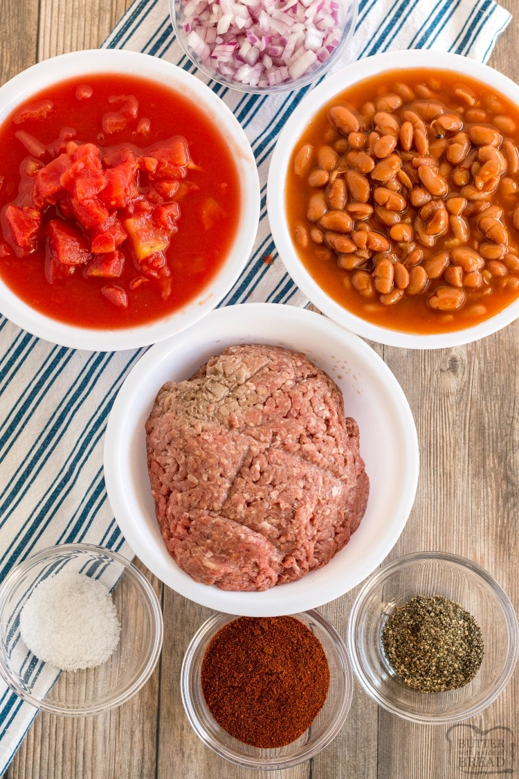 ingredients needed to make easy chili recipe