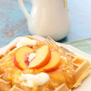 homemade peach syrup on waffles
