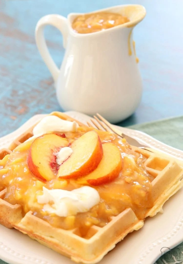 homemade peach syrup on waffles