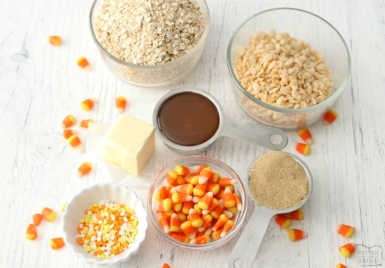 ingredients to make homemade CANDY CORN GRANOLA BARS