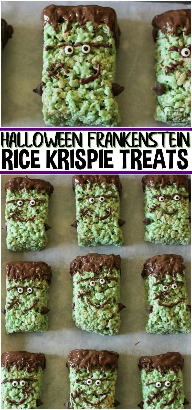 Frankenstein Rice Krispie Treats are cute green Krispie treats dipped in chocolate & made into Frankensteins! Simple Halloween rice Krispie treats perfect for Halloween Parties! #Halloween #Frankenstein #riceKrispies #dessert #marshmallows #classparties #recipe from BUTTER WITH A SIDE OF BREAD