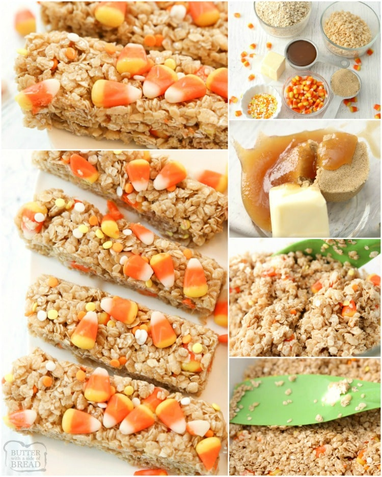 HOW TO MAKE HALLOWEEN CANDY CORN GRANOLA BARS RECIPE