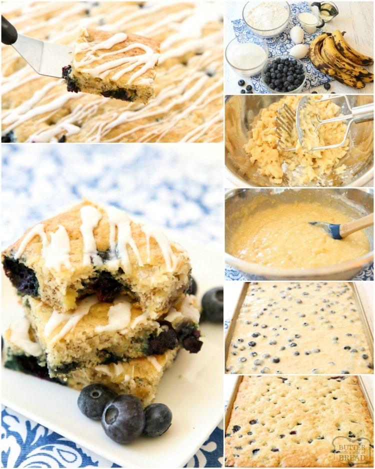how to make glazed banana blueberry bars recipe